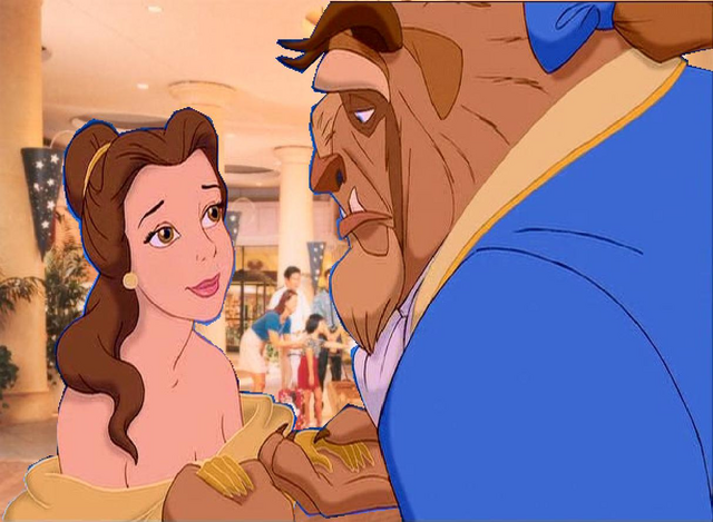 File:Belle gets worry with the Beast at Disneyland Hotel Lobby.PNG