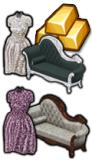 GoldDeal - 170520 - Silver Lace Elegance Dress - Purple Leaves Dress - Silver Age Settee - Damask Settee