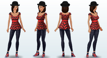 Black and Red Emma Top -4 angles-