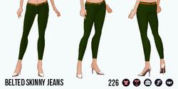 VineyardHarvestSpin - Belted Skinny Jeans green