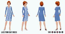 EnglishRoseSpin - Lace Trim Coat Dress blue
