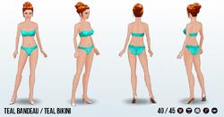 Athena - Teal Bandeau Teal Bikini