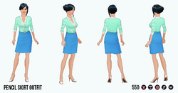 CitySophisticate - Pencil Skirt Outfit blue