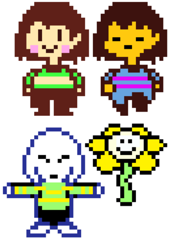 File:Chara, Frisk, Asriel and Flowey Reference.png
