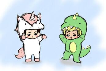 Unicorns vs dinosaurs by lollypop36-d3aqa0k