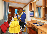 Belle and Beast just in time the Room at Disney Cruise Line