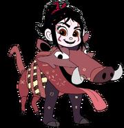 Vanellope dressed as Pumbaa 5