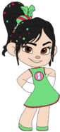 Vanellope in her Night Out Outfit with her Sugar Rush Badge