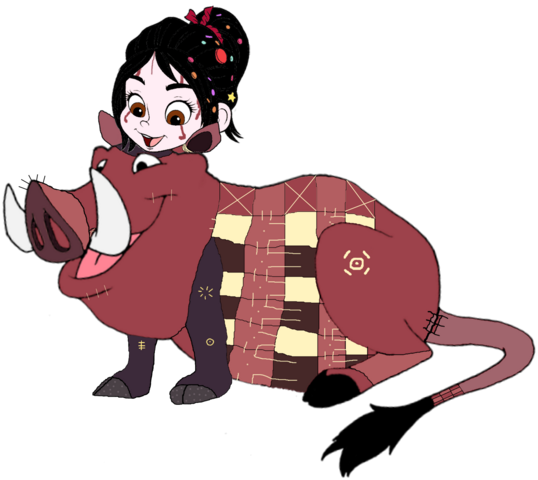 File:Vanellope dressed as Pumbaa 3.png
