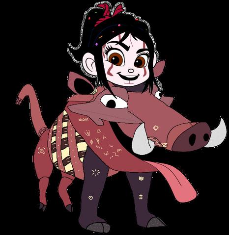 File:Vanellope dressed as Pumbaa 5.png