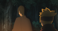 Sasuke talks to Boruto by the fire