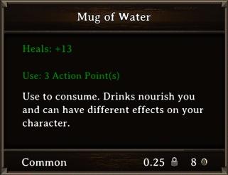 DOS Items Food Mug of Water Stats
