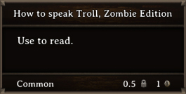 DOS Items Books How To Speak Troll, Zombie Edition