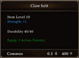 DOS Items CFTX 10.5 Claw Belt