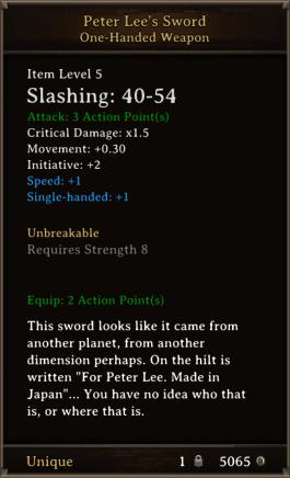 DOS Items Unique Peter Lee's Sword