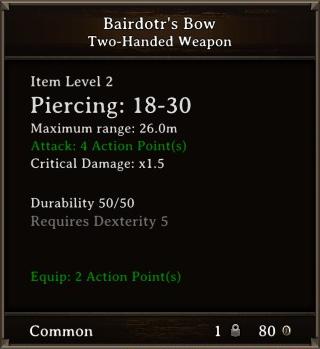 DOS Items Unique Bairdotr's Bow Stats