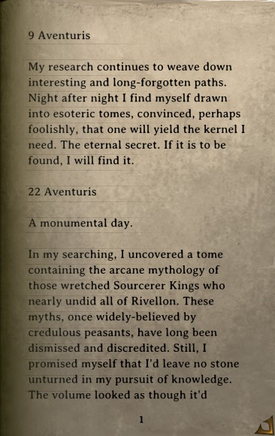 DOS Items Books Thelyron's Diary Page1