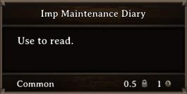 DOS Items Books Imp Maintenance Diary