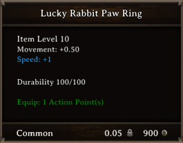 DOS Items CFTX 10.5 Lucky Rabbit Paw Ring