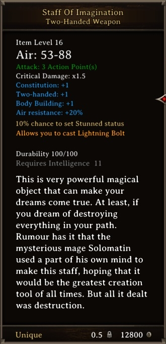 DOS Items Unique Staff of Imagination
