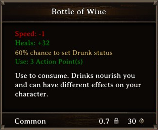 DOS Items Food Bottle of Wine Stats