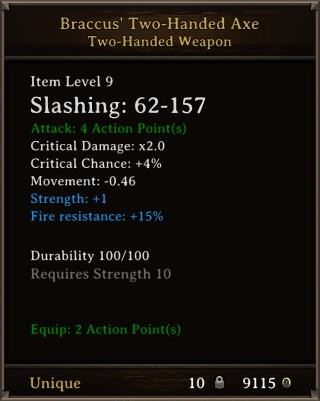 DOS Items Unique Braccus' Two-Handed Axe Stats