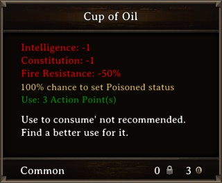 DOS Items Food Cup of Oil Stats