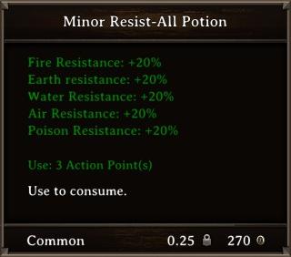 DOS Items Pots Minor Resist-All Potion Stats
