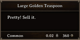 DOS Items Precious Large Golden Teaspoon