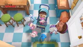 Doc and toys singing to suki