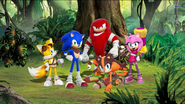 Sonic, Tails, Knuckles, Amy and Sticks