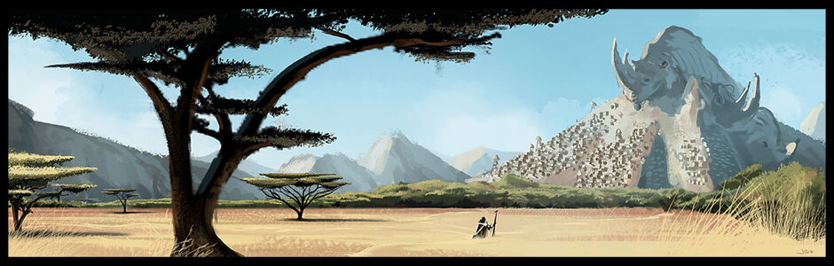 1122x358 543 Rhino Mountain concept 2d fantasy environment mountain africa african plain trees landscape sunny day adventure