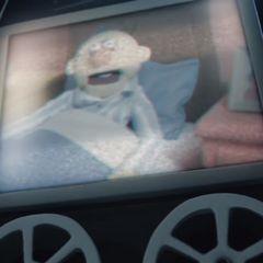 His appearance near the end of the episode.