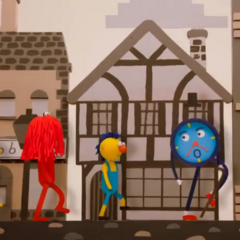 The puppets learn about the past.