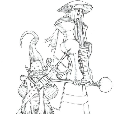 Early concept art of Silabus, to the right