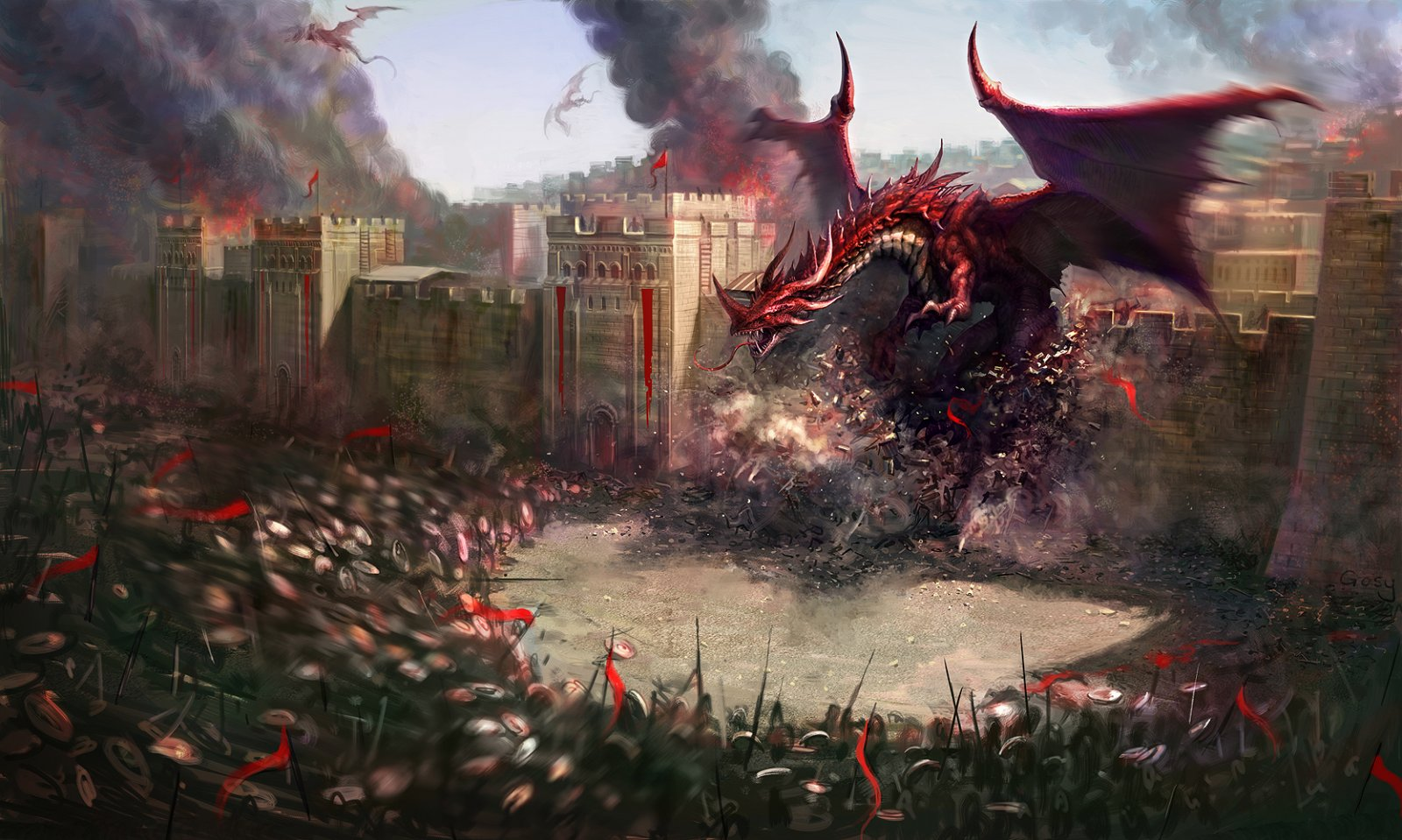 Image - 1600x959 8647 The Dragons Attack 2d fantasy dragons army ...