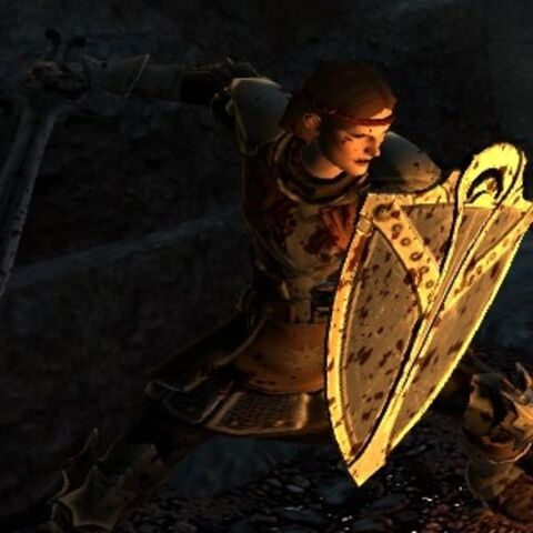 Aveline with Lady Rosamund's Bulwark, lit by flames