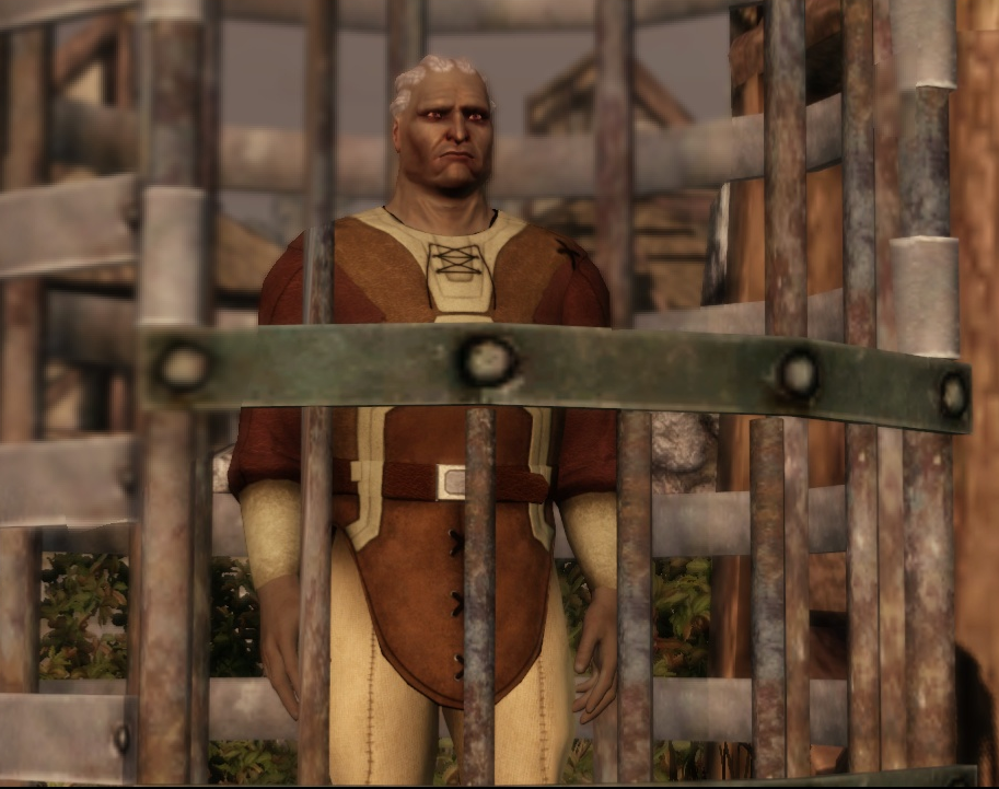 The imprisoned man can only be released from the cage (and join the party) if certain decisions are made.