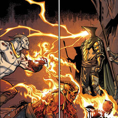 Titus using the power of dragonfire against several <a href=