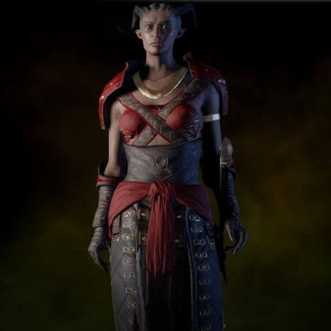 A female Qunari in the armor