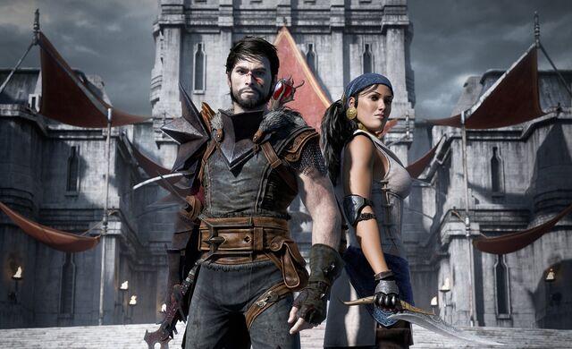 Archivo:Wallpaper Dragon Age 2 Hawke and Isabela.jpg