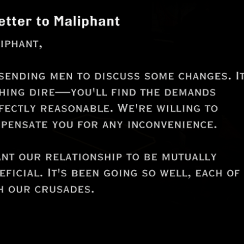 A letter addressed to Maliphant