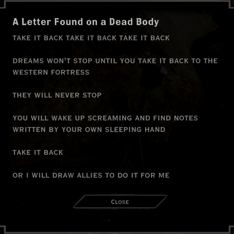 This letter starts the quest