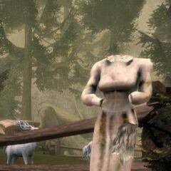 Ruined statue of Ghilan'nain found at a Dalish campsite