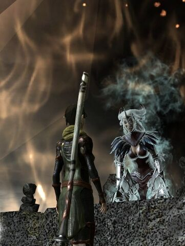 File:DA2 Flemeth emerging from amulet on altar - quest-Long Way Home.jpg