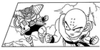 DXRD Caption of Krillin faces a fat Goose-esque PTO soldier with arm cannon, Fukkatsu No F