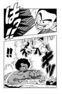 Goku suspends himself in the air to dodge King Chappa's punch
