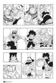 Future Trunks, Gohan and Bulma investigate Cell's cacoon