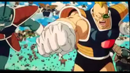 DXRD Caption of Planet Trade Organization Soldiers start their charge at the Z-Fighters (Blonde Recoome-esque throws punch at Krillin & Iru-esque, Turtle like soldier)