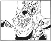 Cell absorbs the energy from Piccolo's arm